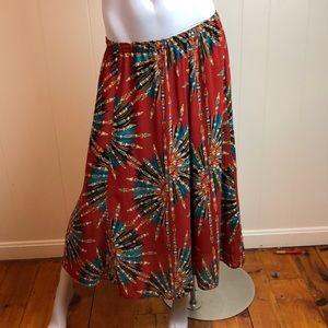Bob Mackie Brown Teal A Line Flowy Skirt